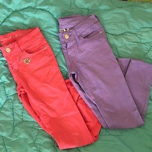 Celebrity pink pants jeans joggings 8 purple EUC